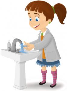 Cartoon of Girl Washing hands