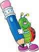 Cartoon Lady Bug and Pencil