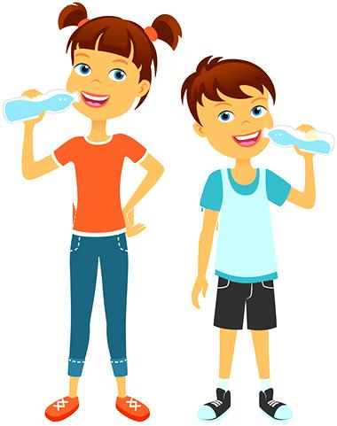 Cartoon kids Drinking Water out of Bottles