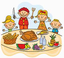 Cartoon Familiy Thanksgiving