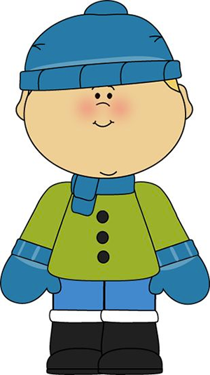 Cartoon of Child in Winter Clothing