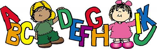 Cartoon of Kids and Alphabet