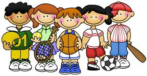 Cartoon of Kids Playing Sports