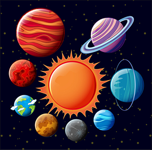 Cartoon of Planets