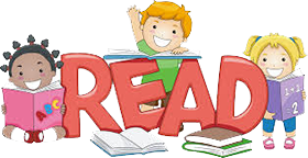 Cartton of Kids around big Letters that say READ