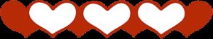 Hearts all in a row representing Gratitude