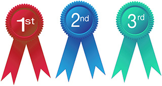 Ribbons for First Second and Third Place
