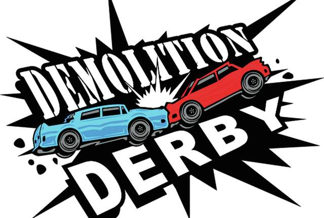 Cartoon of Demolition Derby Cars Crshing